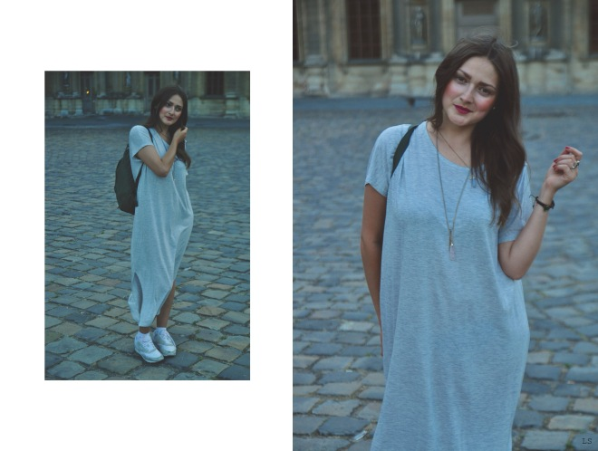 grey oversized dress by monki